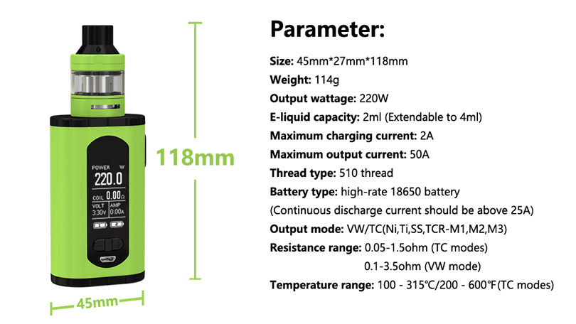 Eleaf Invoke Kit Parameter