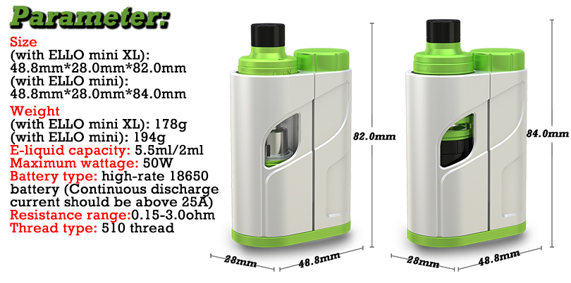 Eleaf iKonn Total Kits Parameter