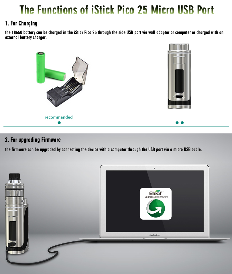 iStick Pico 25 Micro USB Port Functions
