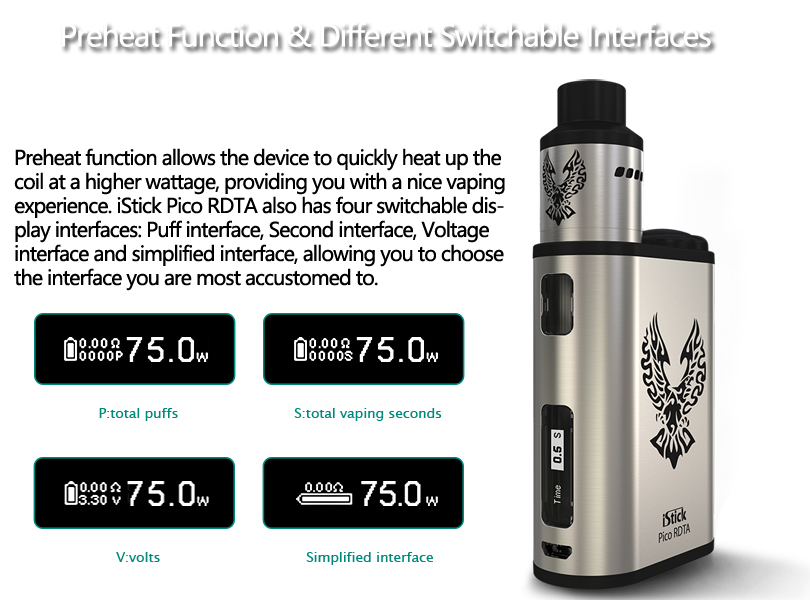 iStick Pico RDTA provide four switchable display interfaces for you