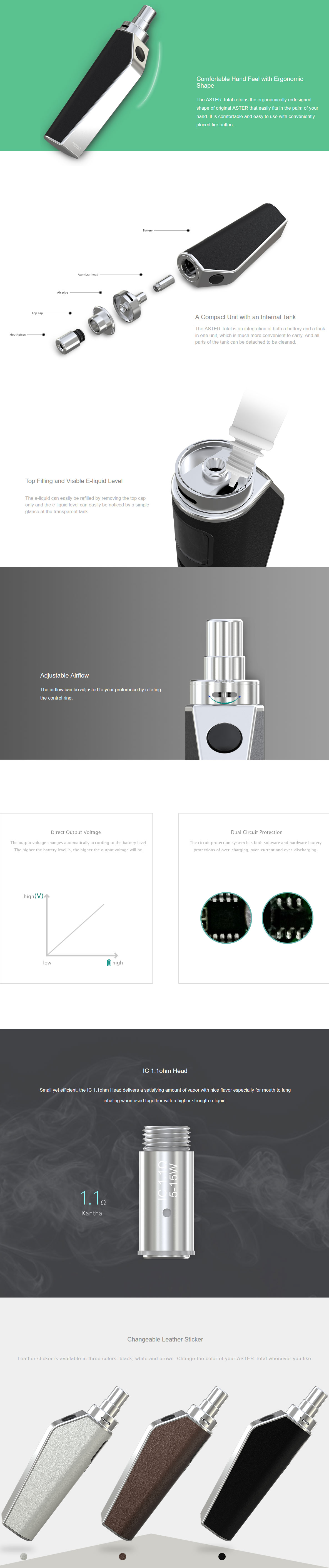 Features Of Eleaf Aster Total Kit