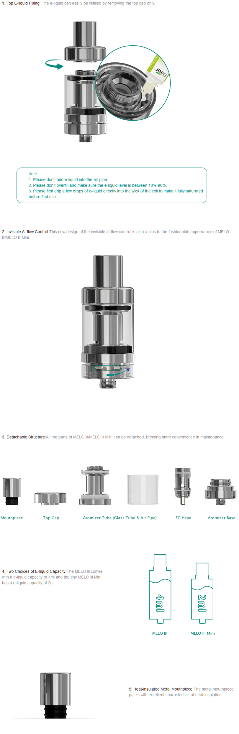 Melo III Atomizer Features