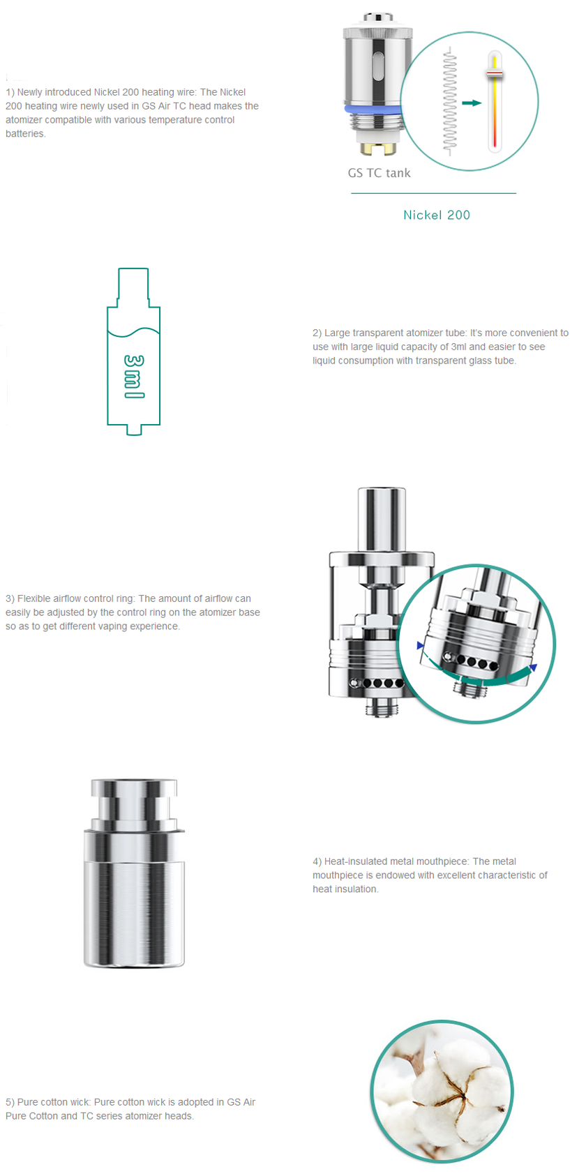Eleaf GS-Tank Atomizer Features