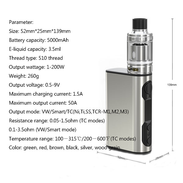 Parameter for iStick QC 200W With MELO 300 Full Kit